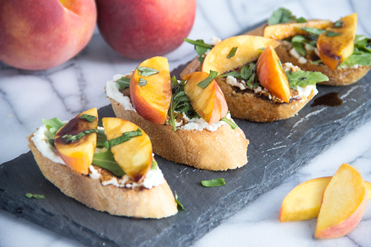 Peach-Crostini-with-Whipped-Feta-and-Honey Balsamic