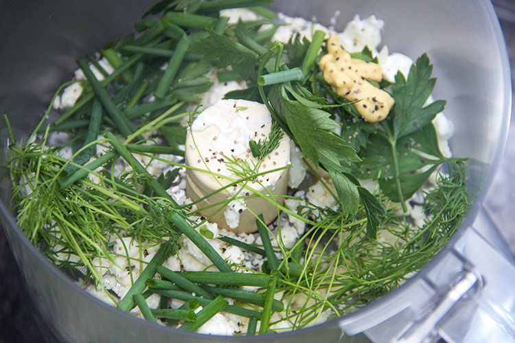 blending-herbs-and-feta