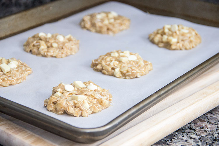 cookie-batter-on-a-baking-sheet