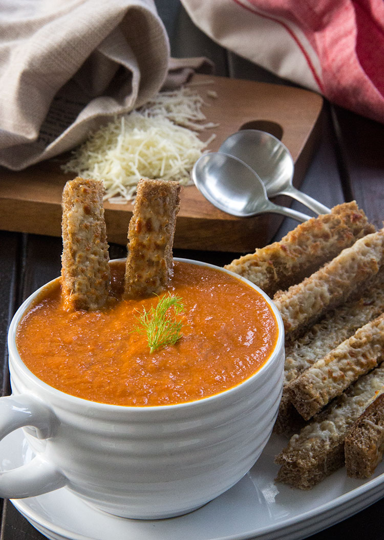 Creamy-Tomato-Soup-with-Three-Cheese-Bread-Sticks