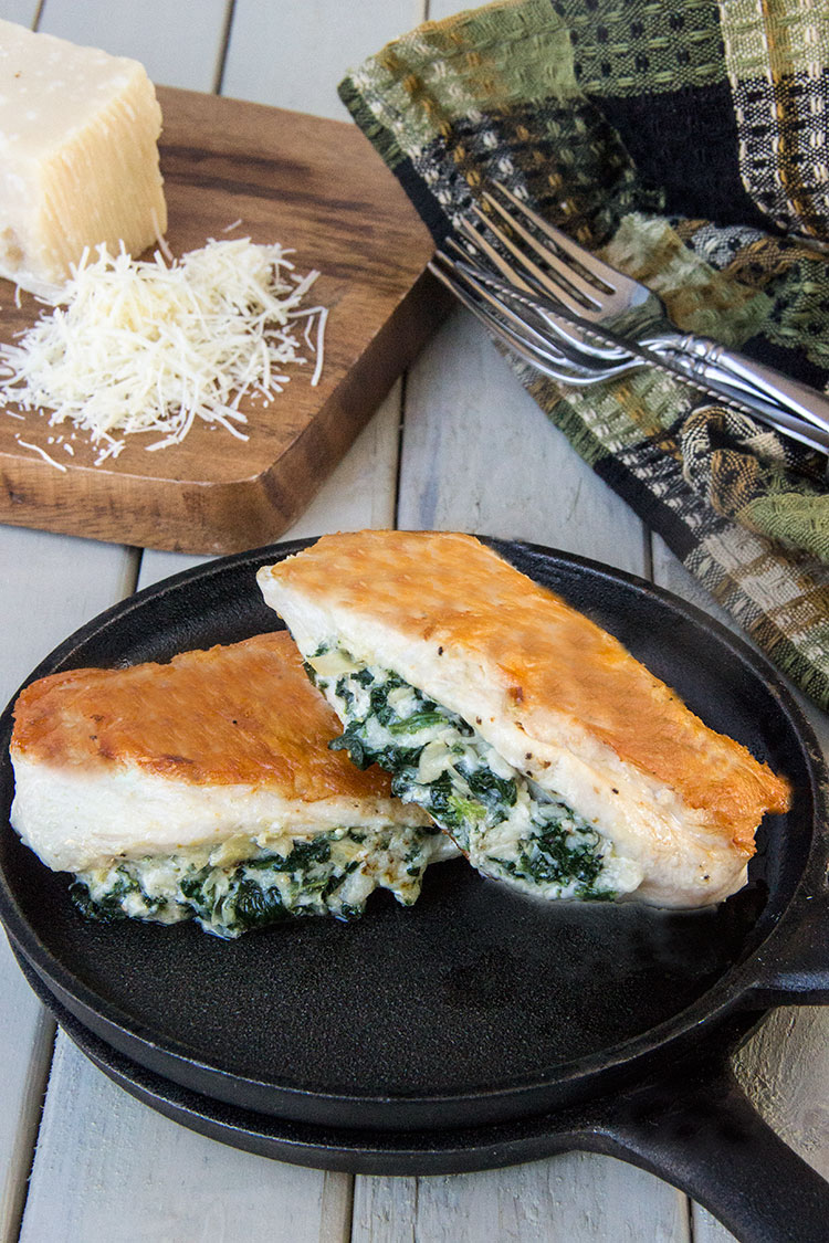 Healthy-Cheesy-Artichoke-Spinach-Stuffed-Chicken