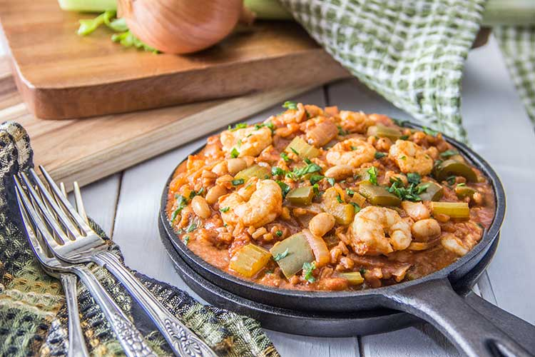 Healthy-One-Pot-Shrimp-and-White Bean-Jambalaya