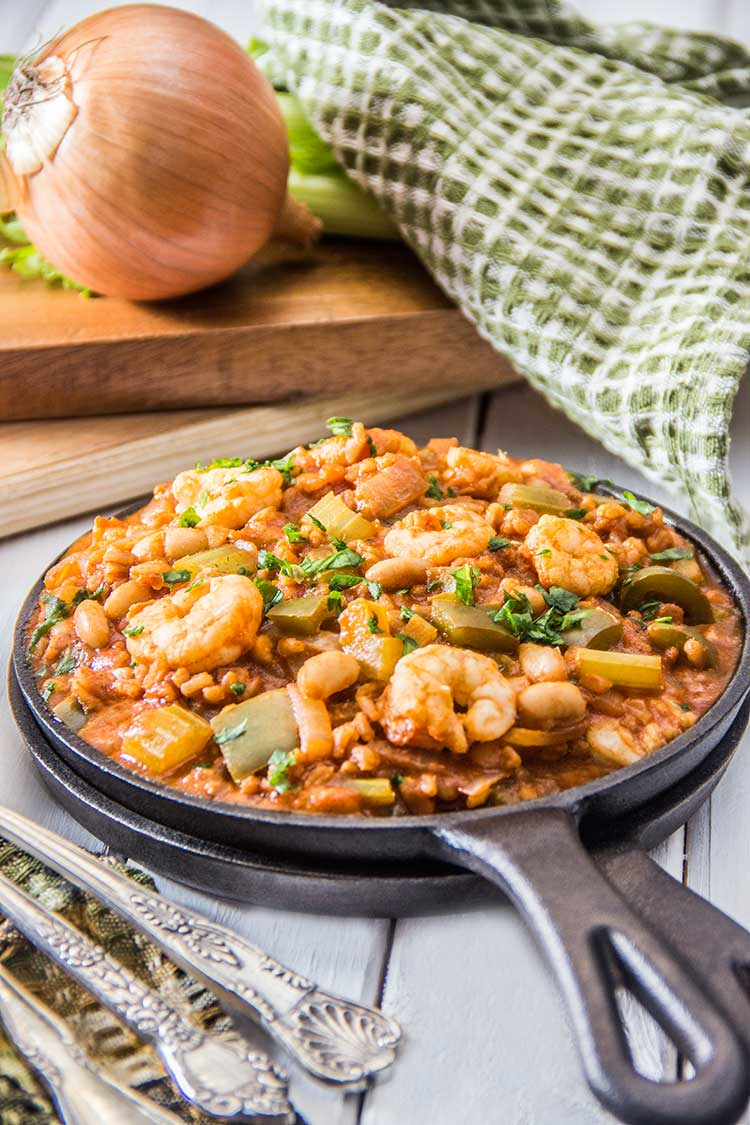 One-Pot-Healthy-Farro-Shrimp-White-Bean-Jambalaya