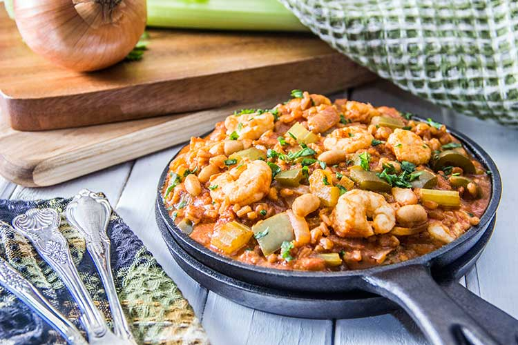 One-Pot-Healthy-Shrimp-and-Farro-Jambalaya