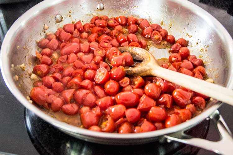 cooking-cherry-tomato-sauce-with-garlic