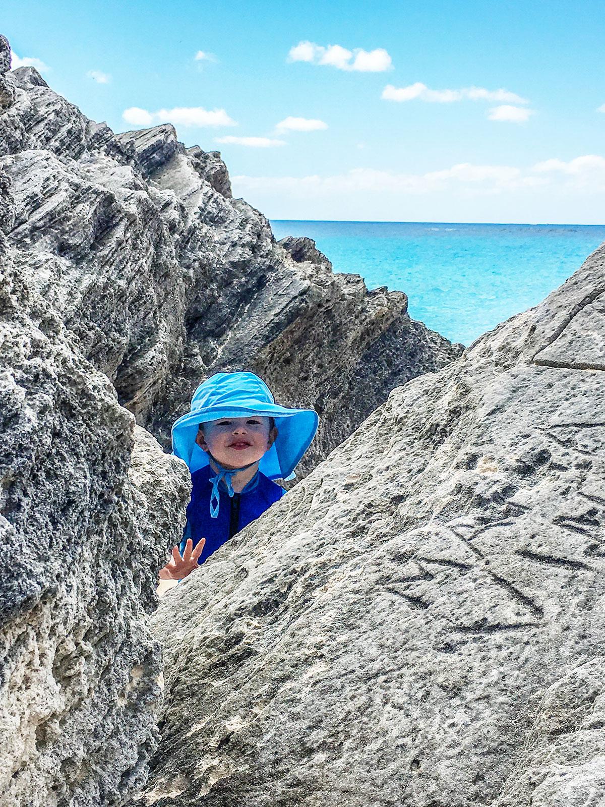 Peeking-through-rocks-at-Warwick-Long-Bay-Beach-Bermuda