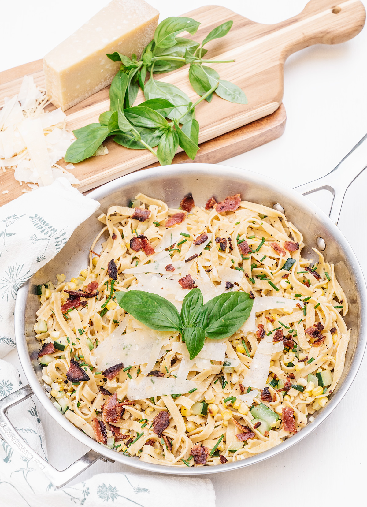 30-Minute-Zucchini-Pasta-with-Corn-and-Bacon
